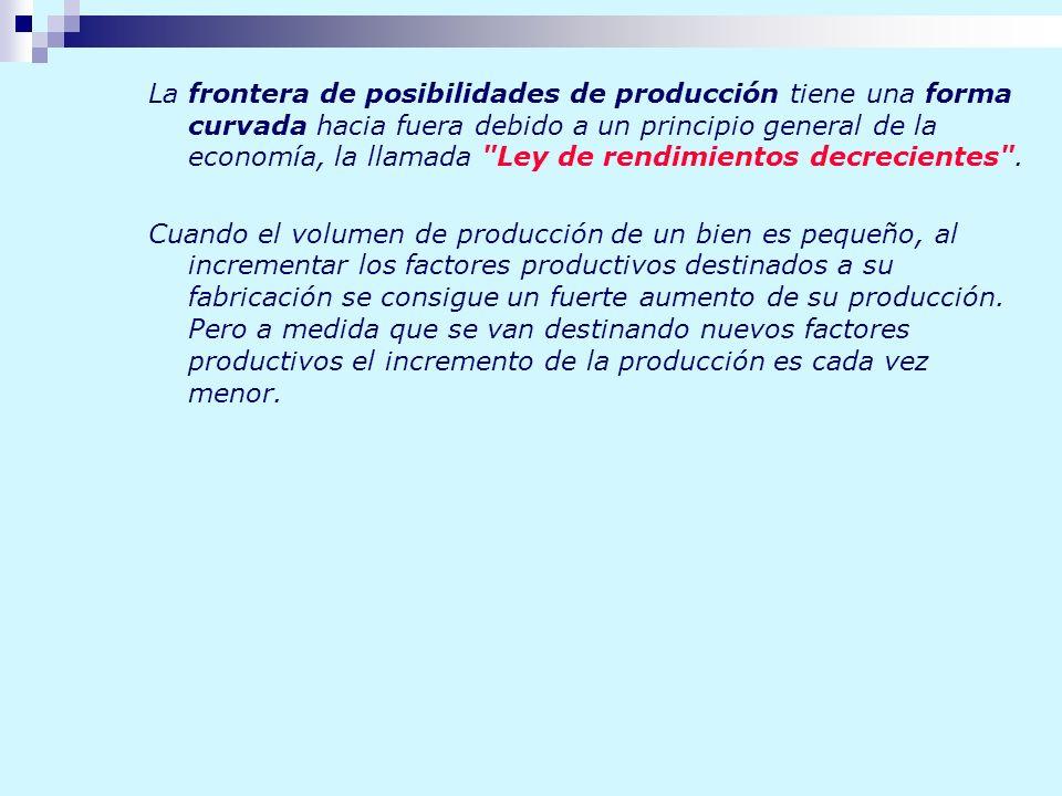 La frontera de posibilidades de producción tiene una forma curvada hacia fuera debido a un principio general de la economía, la llamada