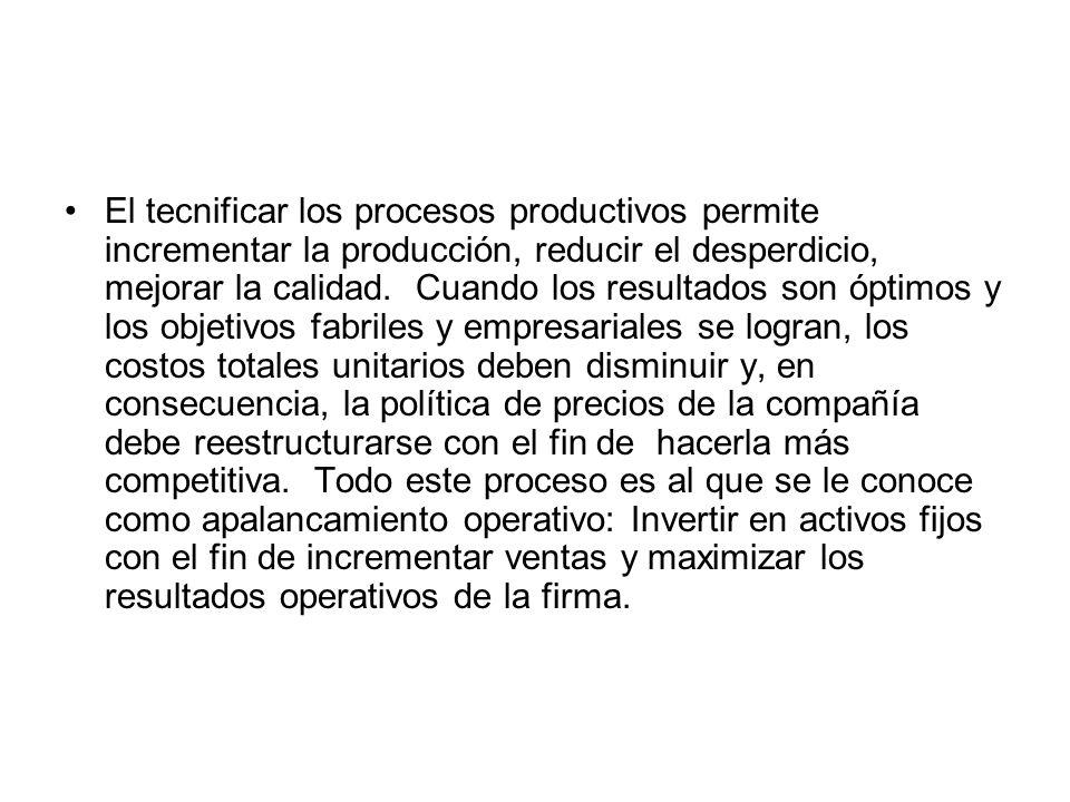 El tecnificar los procesos productivos permite incrementar la producción, reducir el desperdicio, mejorar la calidad. Cuando los resultados son óptimo