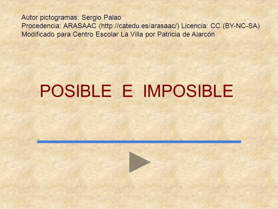 POSIBLE E IMPOSIBLE Autor pictogramas: Sergio Palao Procedencia: ARASAAC (http://catedu.es/arasaac/) Licencia: CC (BY-NC-SA) Modificado para Centro Escolar La Villa por Patricia de Alarcón