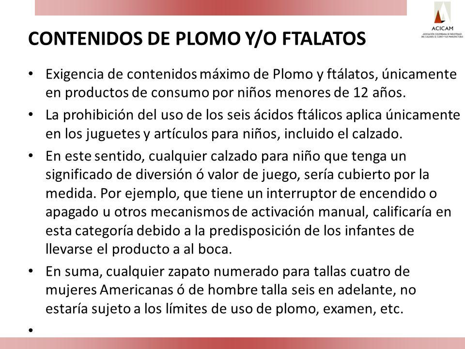 CONTENIDOS DE PLOMO Y/O FTALATOS Exigencia de contenidos máximo de Plomo y ftálatos, únicamente en productos de consumo por niños menores de 12 años.