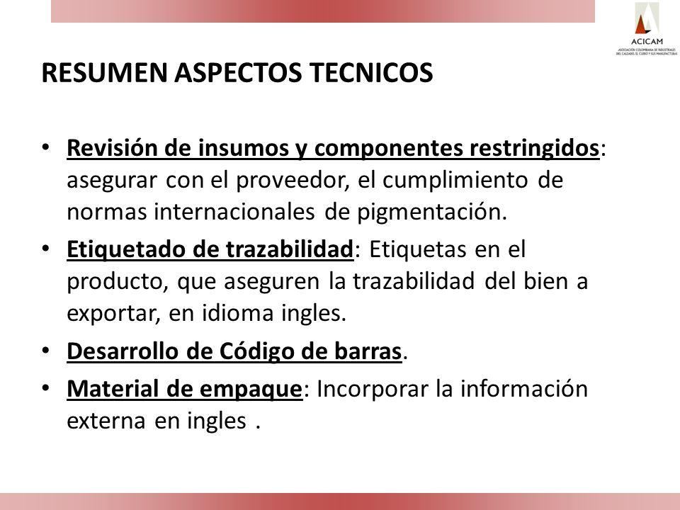 RESUMEN ASPECTOS TECNICOS Revisión de insumos y componentes restringidos: asegurar con el proveedor, el cumplimiento de normas internacionales de pigm