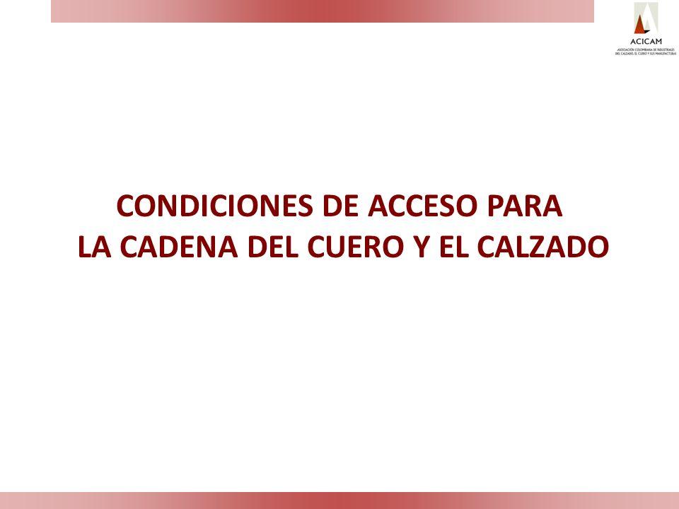 DEFINICION DEL ACCESO EN LOS CUEROS CURTIDOS Y TERMINADOS Para los productos del capítulo 41 (cueros): de la 4104 a 4115: Acceso a EEUU: Caja A -Inmediata Para los productos del capítulo 42 (marroquinería): Acceso a EEUU: Caja A-Inmediata Para los productos del capítulo 64 (calzado): Acceso a EEUU: – Calzado con la parte superior en cuero en Caja A- Inmediata.