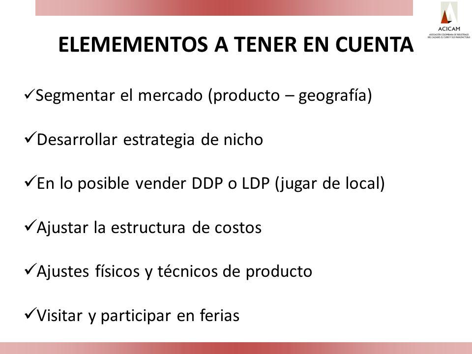 ELEMEMENTOS A TENER EN CUENTA Segmentar el mercado (producto – geografía) Desarrollar estrategia de nicho En lo posible vender DDP o LDP (jugar de loc