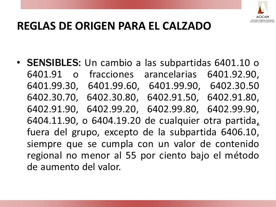 REGLAS DE ORIGEN PARA EL CALZADO SENSIBLES: Un cambio a las subpartidas 6401.10 o 6401.91 o fracciones arancelarias 6401.92.90, 6401.99.30, 6401.99.60
