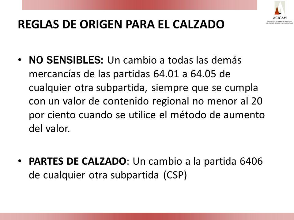REGLAS DE ORIGEN PARA EL CALZADO NO SENSIBLES: Un cambio a todas las demás mercancías de las partidas 64.01 a 64.05 de cualquier otra subpartida, siem