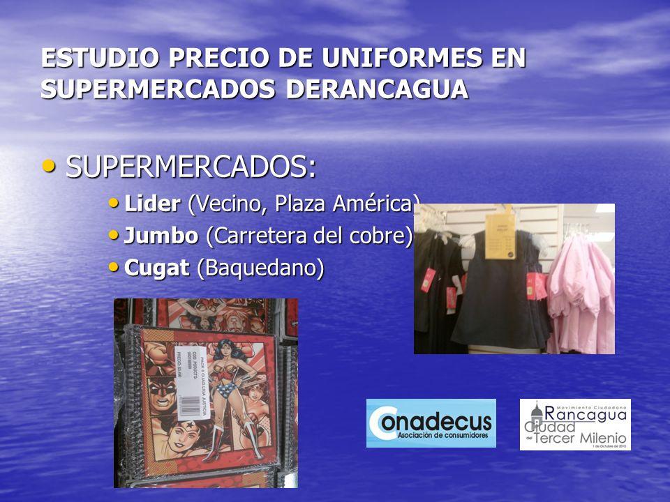 ESTUDIO PRECIO DE UNIFORMES EN SUPERMERCADOS DERANCAGUA SUPERMERCADOS: SUPERMERCADOS: Lider (Vecino, Plaza América) Lider (Vecino, Plaza América) Jumb