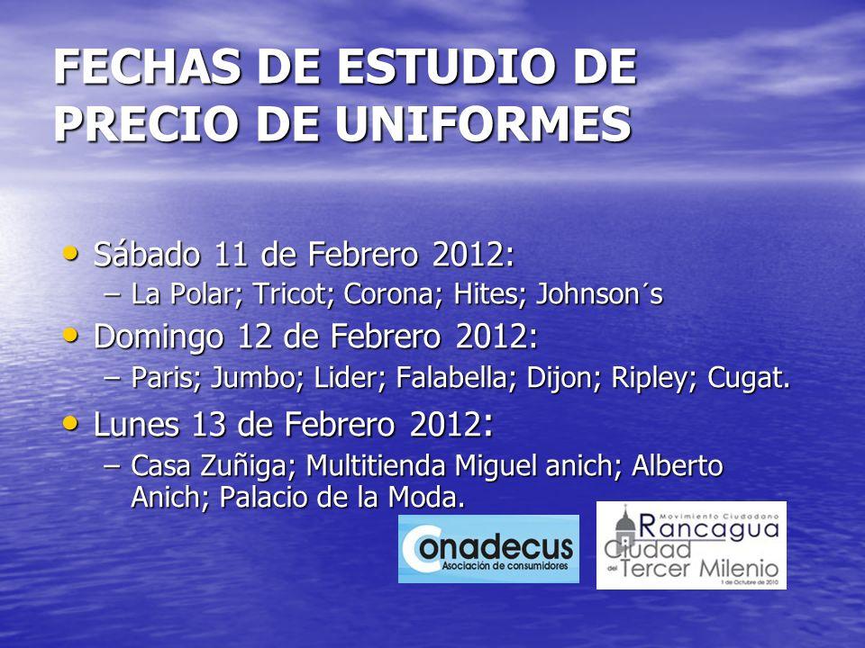FECHAS DE ESTUDIO DE PRECIO DE UNIFORMES Sábado 11 de Febrero 2012: Sábado 11 de Febrero 2012: –La Polar; Tricot; Corona; Hites; Johnson´s Domingo 12