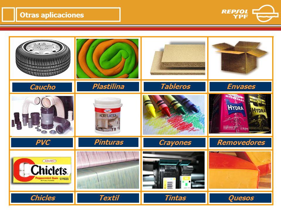 11 Pinturas Crayones Envases PVC Tableros Plastilina Removedores TintasTextilChiclesQuesos Otras aplicaciones Caucho
