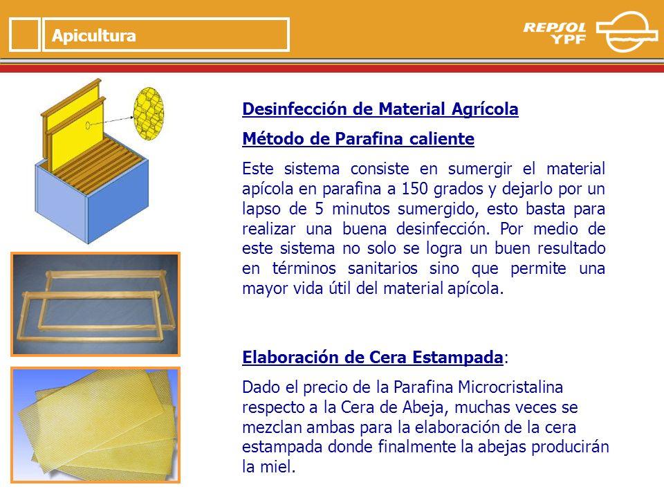 5 Apicultura Desinfección de Material Agrícola Método de Parafina caliente Este sistema consiste en sumergir el material apícola en parafina a 150 grados y dejarlo por un lapso de 5 minutos sumergido, esto basta para realizar una buena desinfección.