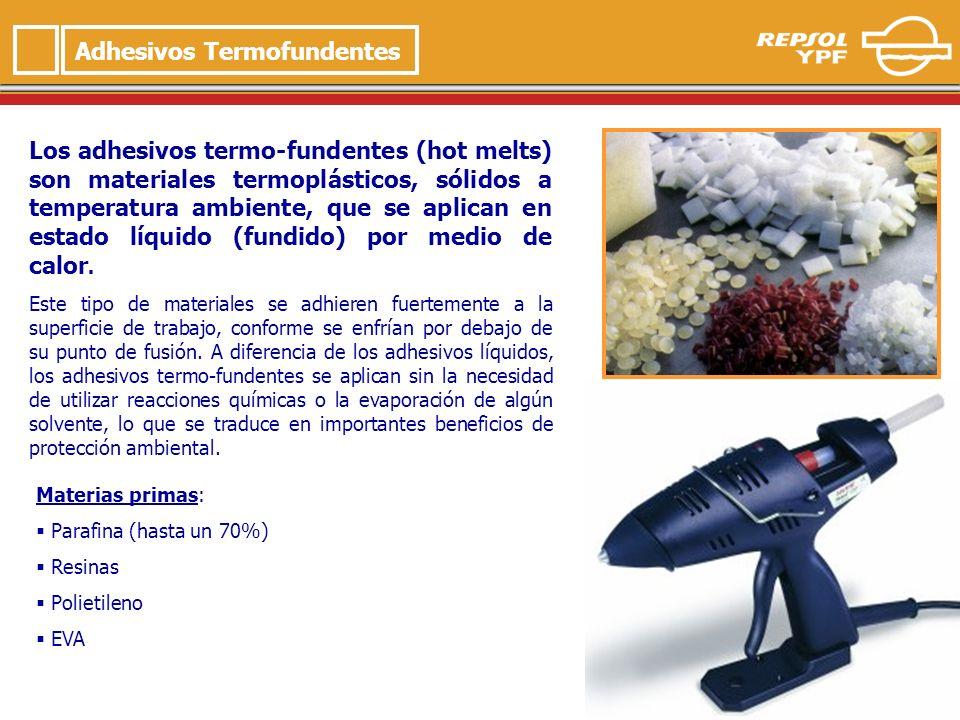 8 Adhesivos Termofundentes Los adhesivos termo-fundentes (hot melts) son materiales termoplásticos, sólidos a temperatura ambiente, que se aplican en estado líquido (fundido) por medio de calor.