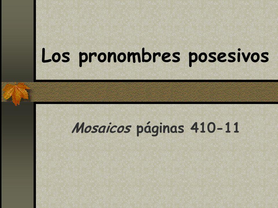 Los pronombres posesivos Mosaicos páginas 410-11