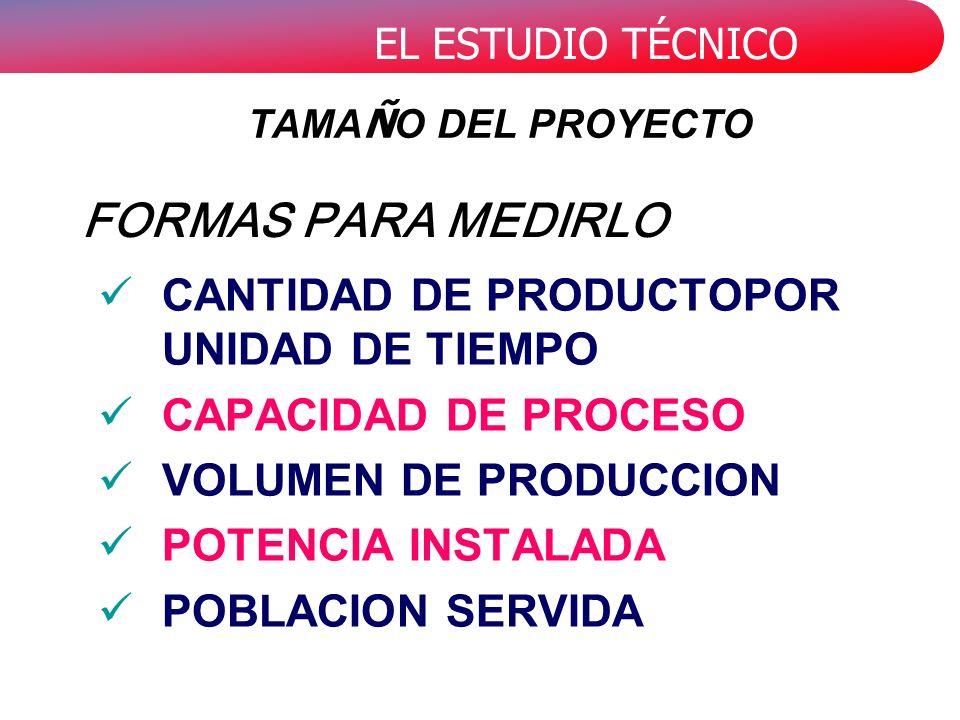EL ESTUDIO TÉCNICO CANTIDAD DE PRODUCTOPOR UNIDAD DE TIEMPO CAPACIDAD DE PROCESO VOLUMEN DE PRODUCCION POTENCIA INSTALADA POBLACION SERVIDA FORMAS PAR
