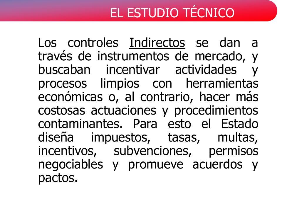 EL ESTUDIO TÉCNICO Los controles Indirectos se dan a través de instrumentos de mercado, y buscaban incentivar actividades y procesos limpios con herra