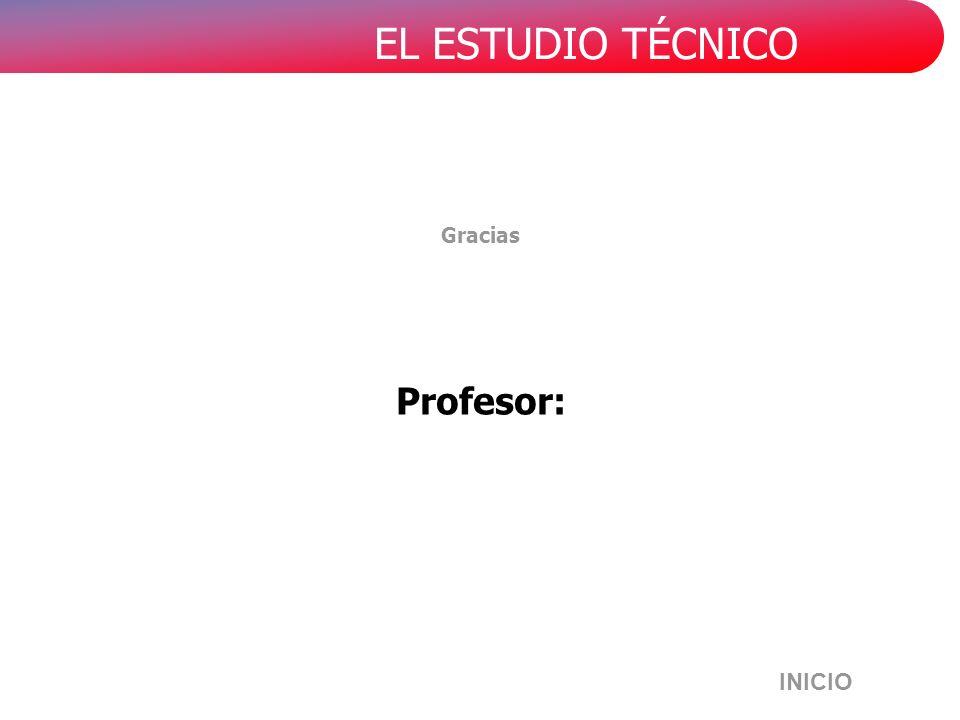EL ESTUDIO TÉCNICO Gracias Profesor: INICIO