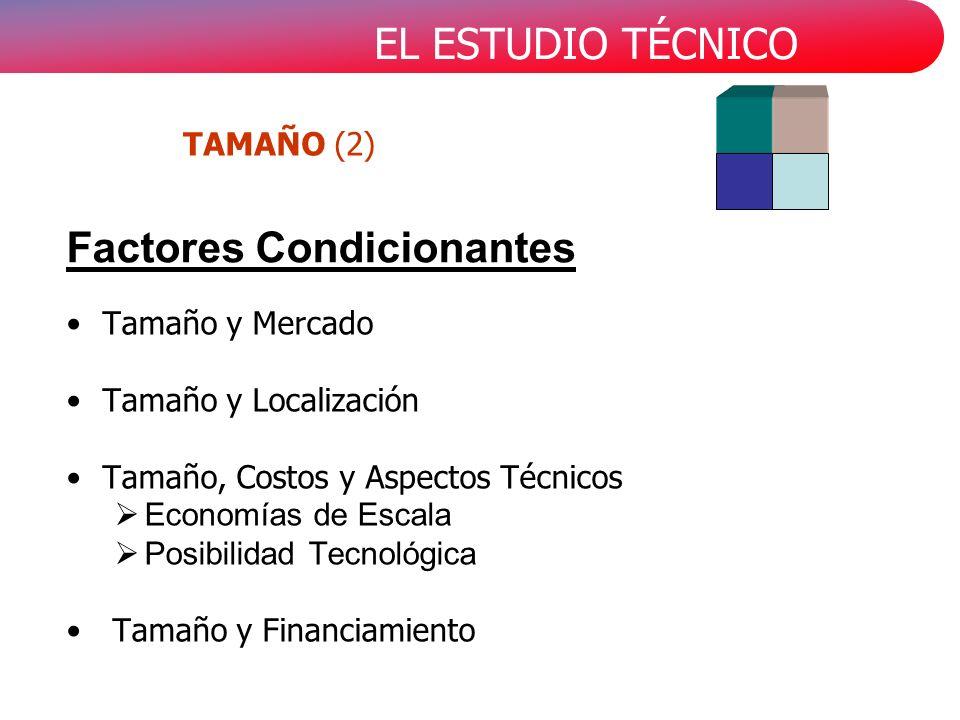 EL ESTUDIO TÉCNICO Tamaño y Mercado Tamaño y Localización Tamaño, Costos y Aspectos Técnicos Economías de Escala Posibilidad Tecnológica Tamaño y Financiamiento Factores Condicionantes TAMAÑO (2)