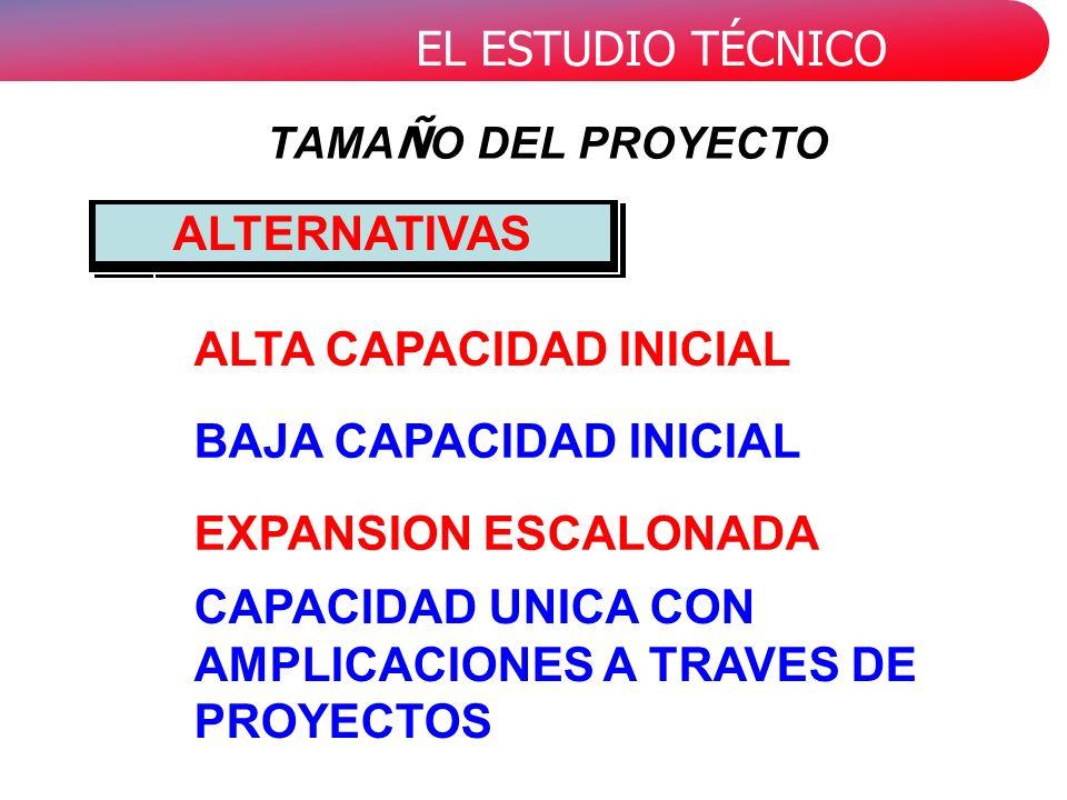 EL ESTUDIO TÉCNICO CAPACIDAD UNICA CON AMPLICACIONES A TRAVES DE PROYECTOS ALTA CAPACIDAD INICIAL BAJA CAPACIDAD INICIAL EXPANSION ESCALONADA ALTERNATIVAS TAMA Ñ O DEL PROYECTO
