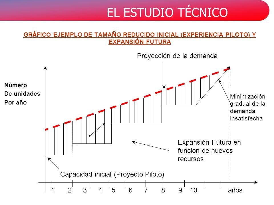 EL ESTUDIO TÉCNICO GR Á FICO EJEMPLO DE TAMA Ñ O REDUCIDO INICIAL (EXPERIENCIA PILOTO) Y EXPANSI Ó N FUTURA Proyección de la demanda Capacidad inicial (Proyecto Piloto) Número De unidades Por año años1 2 3 4 5 6 7 8 9 10 Expansión Futura en función de nuevos recursos Minimización gradual de la demanda insatisfecha