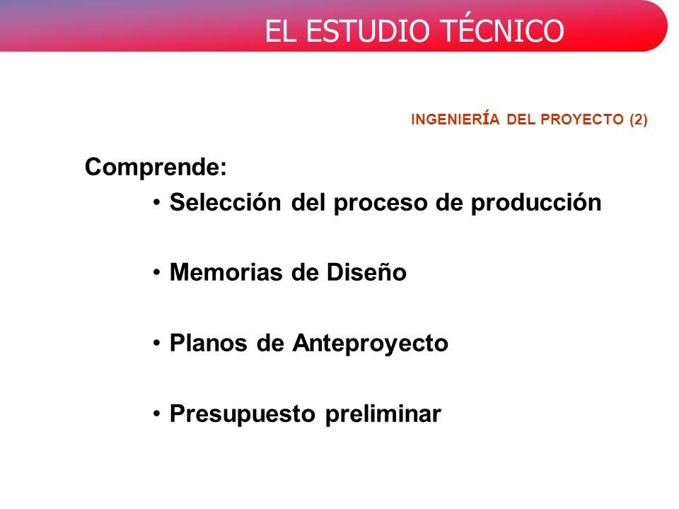EL ESTUDIO TÉCNICO INGENIER Í A DEL PROYECTO (2) Comprende: Selección del proceso de producción Memorias de Diseño Planos de Anteproyecto Presupuesto preliminar