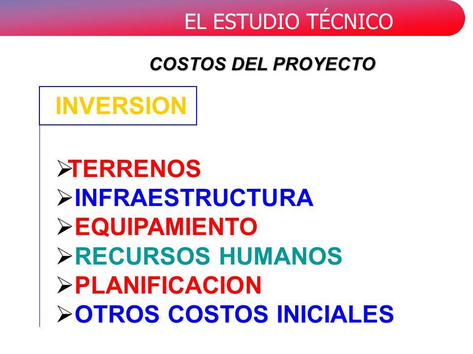 EL ESTUDIO TÉCNICO TERRENOS INFRAESTRUCTURA EQUIPAMIENTO RECURSOS HUMANOS PLANIFICACION OTROS COSTOS INICIALES INVERSION COSTOS DEL PROYECTO