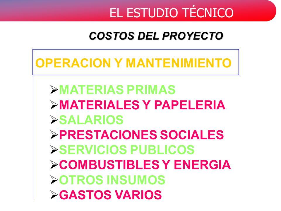 EL ESTUDIO TÉCNICO MATERIAS PRIMAS MATERIALES Y PAPELERIA SALARIOS PRESTACIONES SOCIALES SERVICIOS PUBLICOS COMBUSTIBLES Y ENERGIA OTROS INSUMOS GASTOS VARIOS OPERACION Y MANTENIMIENTO COSTOS DEL PROYECTO