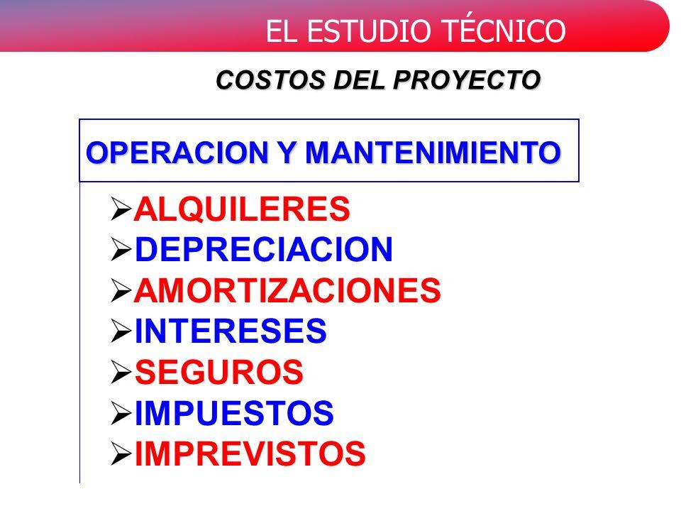 EL ESTUDIO TÉCNICO ALQUILERES DEPRECIACION AMORTIZACIONES INTERESES SEGUROS IMPUESTOS IMPREVISTOS COSTOS DEL PROYECTO OPERACION Y MANTENIMIENTO