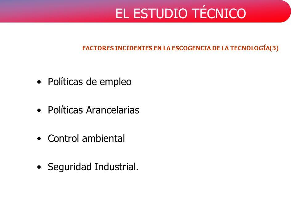EL ESTUDIO TÉCNICO Políticas de empleo Políticas Arancelarias Control ambiental Seguridad Industrial. FACTORES INCIDENTES EN LA ESCOGENCIA DE LA TECNO