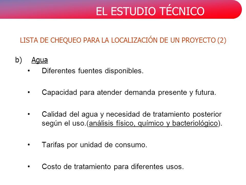 EL ESTUDIO TÉCNICO b)Agua Diferentes fuentes disponibles.