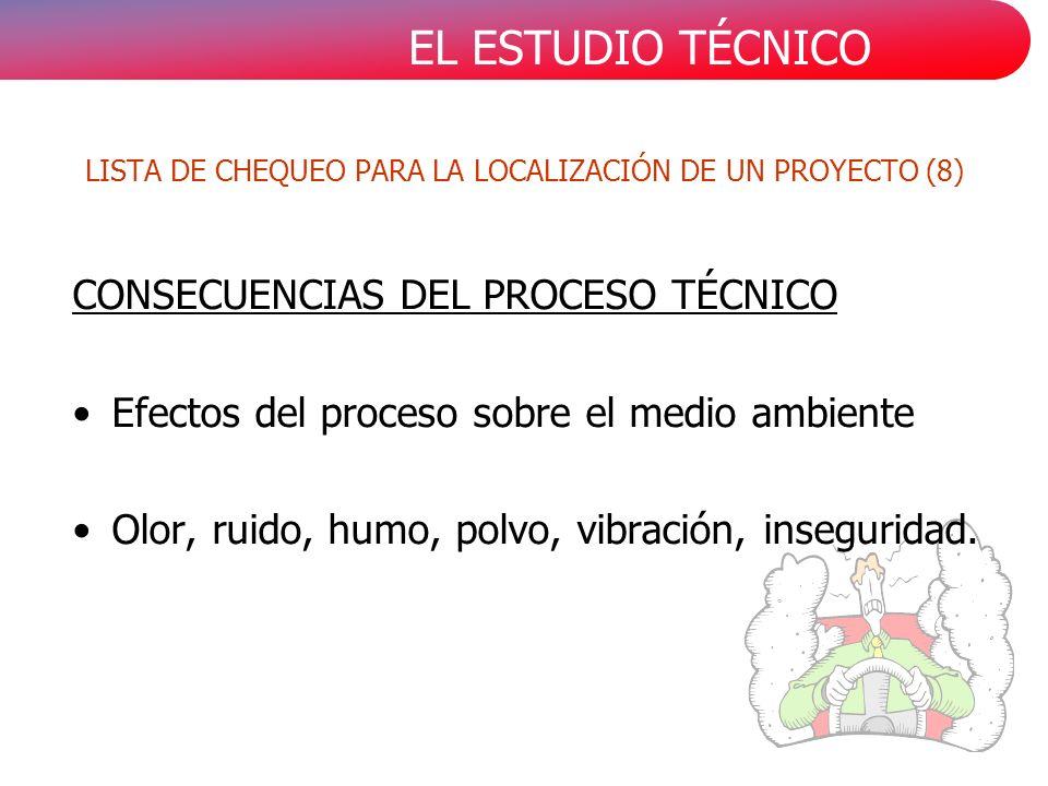 EL ESTUDIO TÉCNICO CONSECUENCIAS DEL PROCESO TÉCNICO Efectos del proceso sobre el medio ambiente Olor, ruido, humo, polvo, vibración, inseguridad.