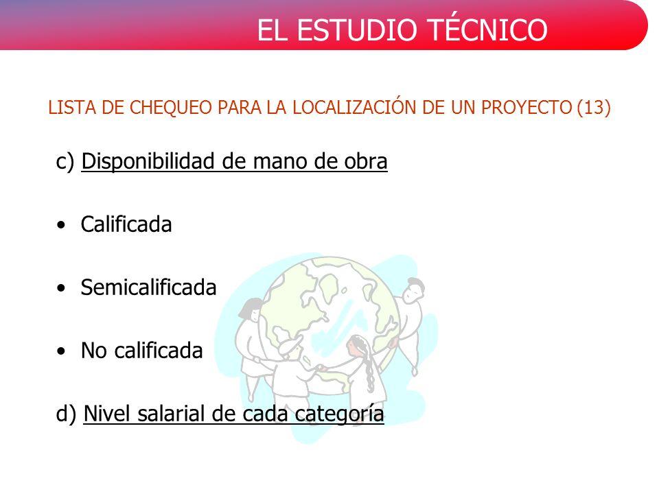 EL ESTUDIO TÉCNICO c) Disponibilidad de mano de obra Calificada Semicalificada No calificada d) Nivel salarial de cada categoría LISTA DE CHEQUEO PARA