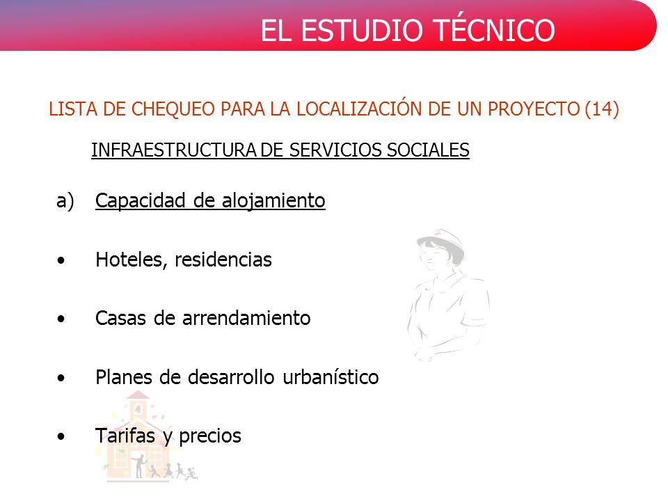 EL ESTUDIO TÉCNICO a)Capacidad de alojamiento Hoteles, residencias Casas de arrendamiento Planes de desarrollo urbanístico Tarifas y precios INFRAESTRUCTURA DE SERVICIOS SOCIALES LISTA DE CHEQUEO PARA LA LOCALIZACIÓN DE UN PROYECTO (14)