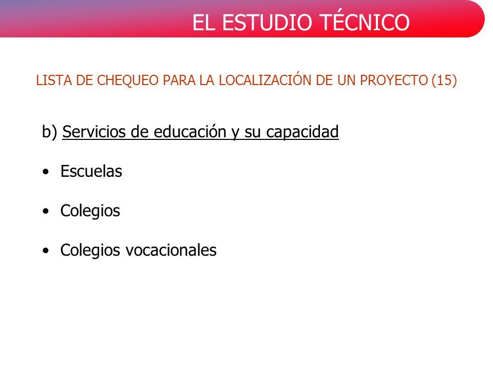 EL ESTUDIO TÉCNICO b) Servicios de educación y su capacidad Escuelas Colegios Colegios vocacionales LISTA DE CHEQUEO PARA LA LOCALIZACIÓN DE UN PROYECTO (15)