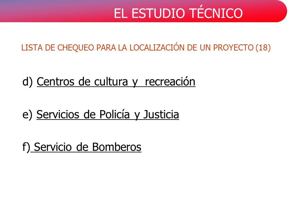 EL ESTUDIO TÉCNICO d) Centros de cultura y recreación e) Servicios de Policía y Justicia f) Servicio de Bomberos LISTA DE CHEQUEO PARA LA LOCALIZACIÓN DE UN PROYECTO (18)