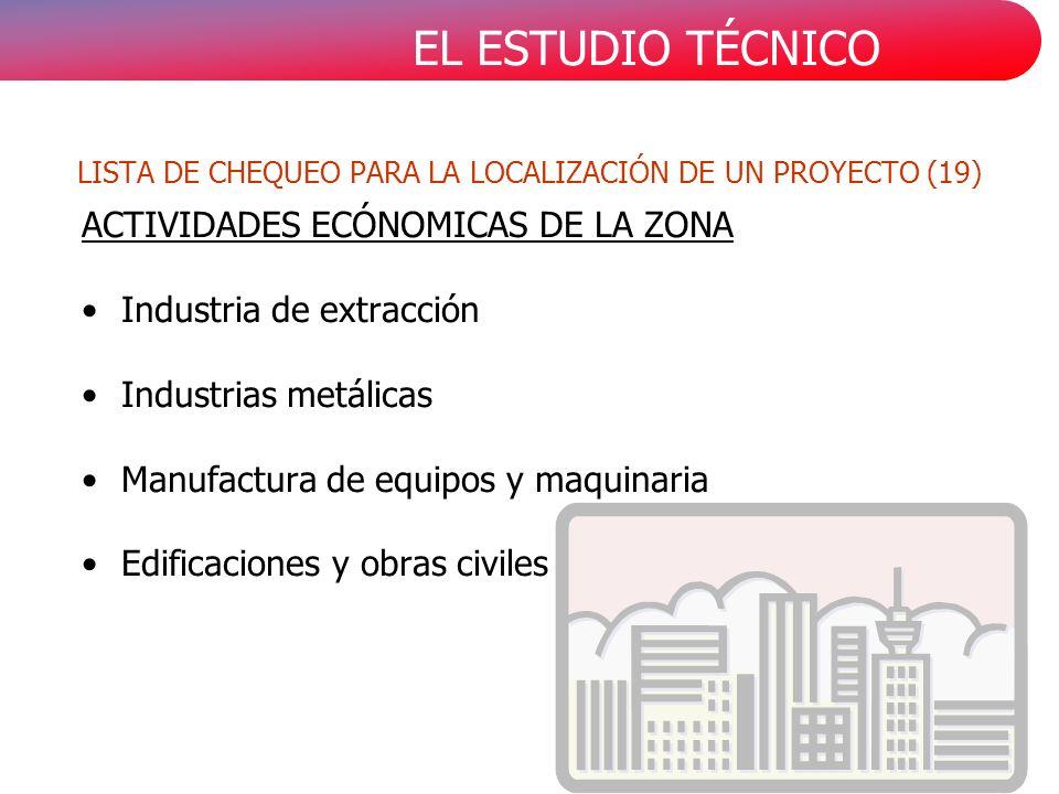 EL ESTUDIO TÉCNICO ACTIVIDADES ECÓNOMICAS DE LA ZONA Industria de extracción Industrias metálicas Manufactura de equipos y maquinaria Edificaciones y obras civiles LISTA DE CHEQUEO PARA LA LOCALIZACIÓN DE UN PROYECTO (19)