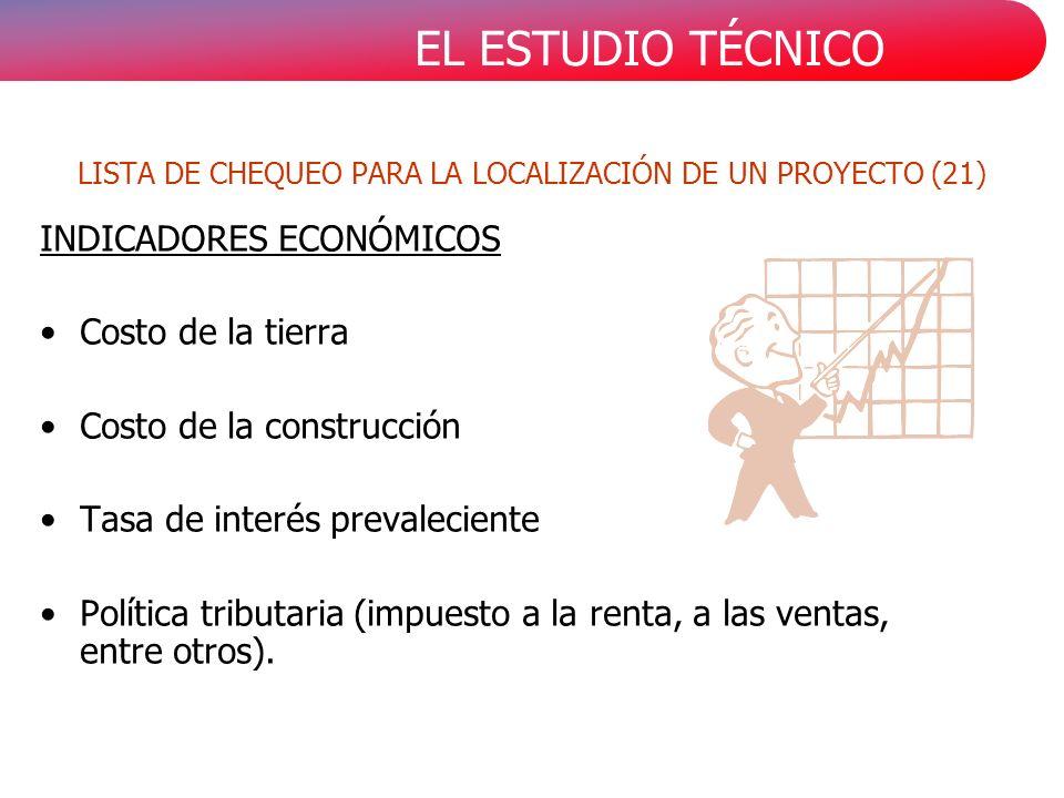 EL ESTUDIO TÉCNICO INDICADORES ECONÓMICOS Costo de la tierra Costo de la construcción Tasa de interés prevaleciente Política tributaria (impuesto a la renta, a las ventas, entre otros).