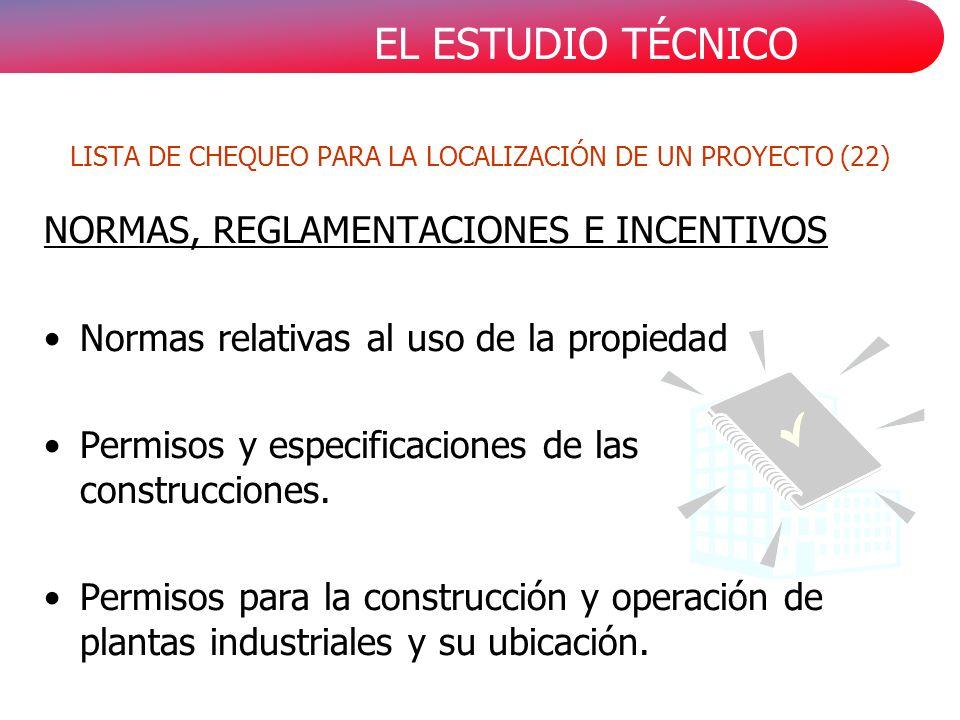EL ESTUDIO TÉCNICO NORMAS, REGLAMENTACIONES E INCENTIVOS Normas relativas al uso de la propiedad Permisos y especificaciones de las construcciones. Pe