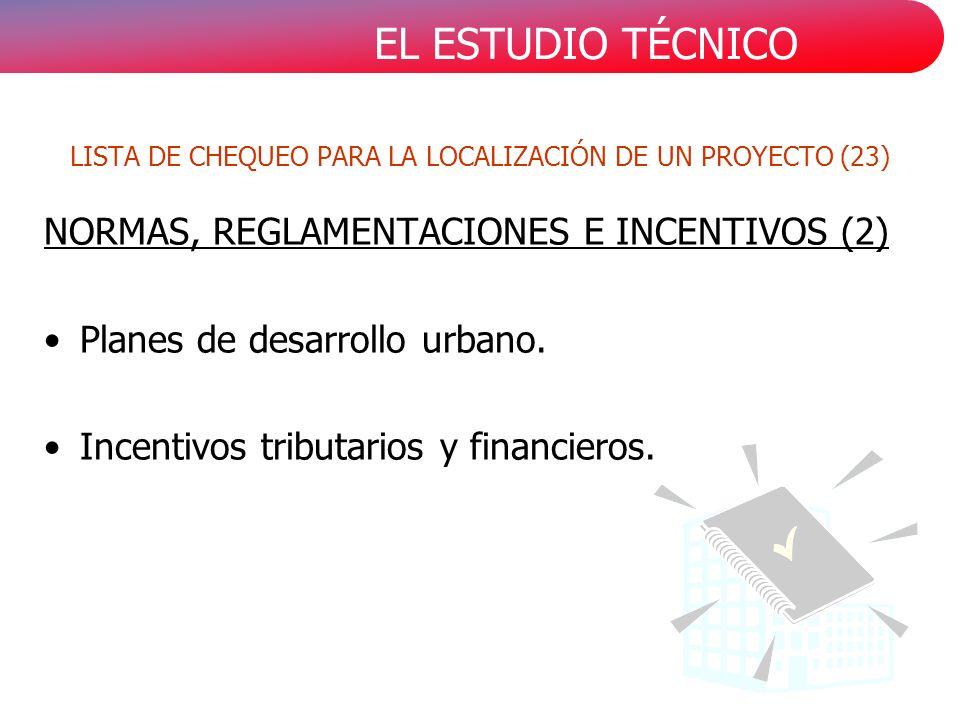 EL ESTUDIO TÉCNICO NORMAS, REGLAMENTACIONES E INCENTIVOS (2) Planes de desarrollo urbano. Incentivos tributarios y financieros. LISTA DE CHEQUEO PARA