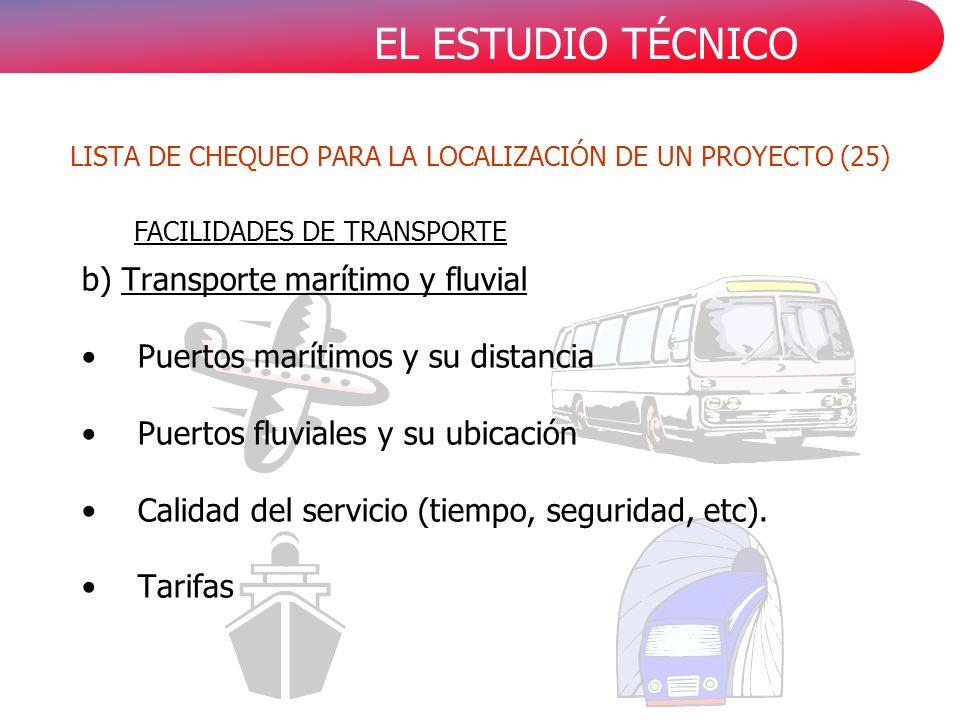 EL ESTUDIO TÉCNICO b) Transporte marítimo y fluvial Puertos marítimos y su distancia Puertos fluviales y su ubicación Calidad del servicio (tiempo, seguridad, etc).