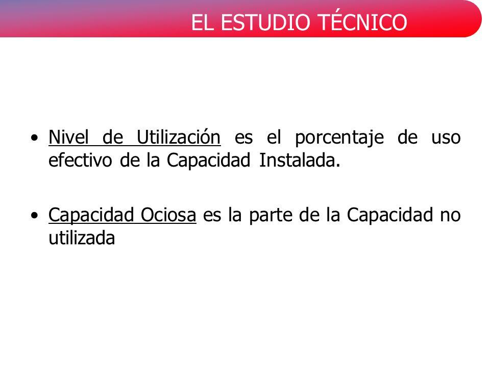 EL ESTUDIO TÉCNICO Nivel de Utilización es el porcentaje de uso efectivo de la Capacidad Instalada.