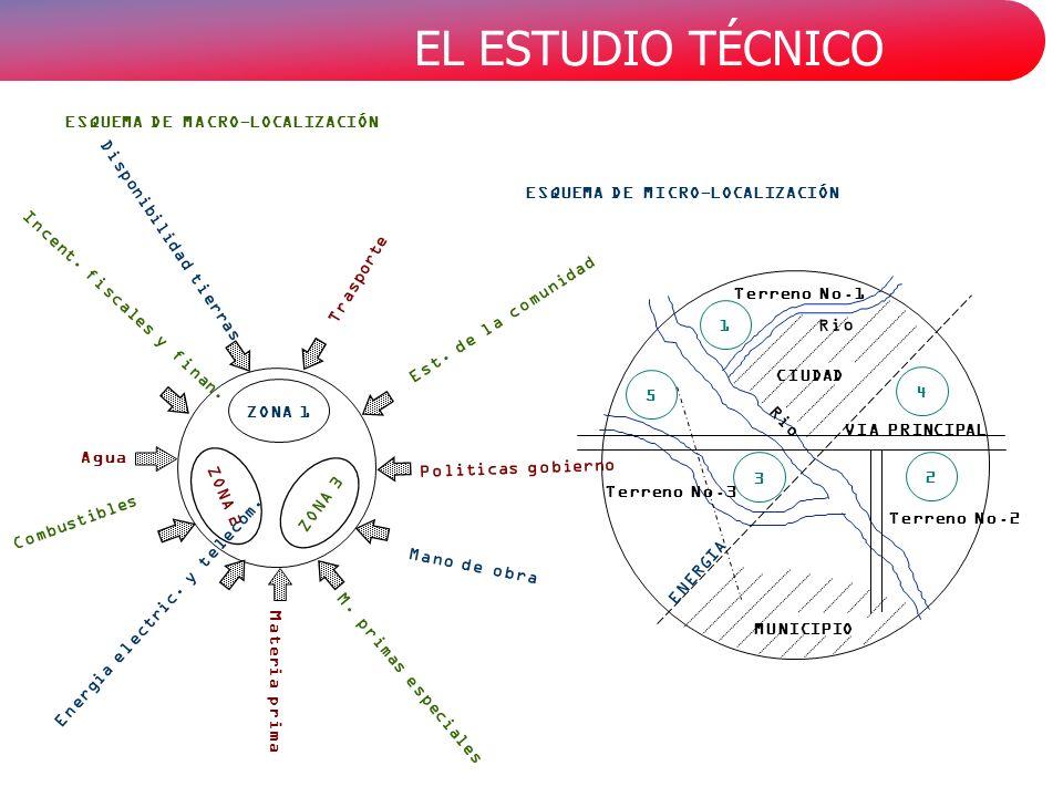 EL ESTUDIO TÉCNICO ESQUEMA DE MACRO-LOCALIZACIÓN ESQUEMA DE MICRO-LOCALIZACIÓN ZONA 1 ZONA 3 ZONA 2 Materia prima Politicas gobierno Mano de obra M.