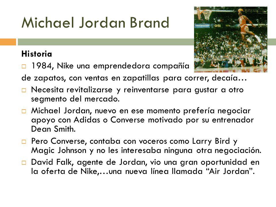 Michael Jordan Brand Historia 1984, Nike una emprendedora compañía de zapatos, con ventas en zapatillas para correr, decaía… Necesita revitalizarse y