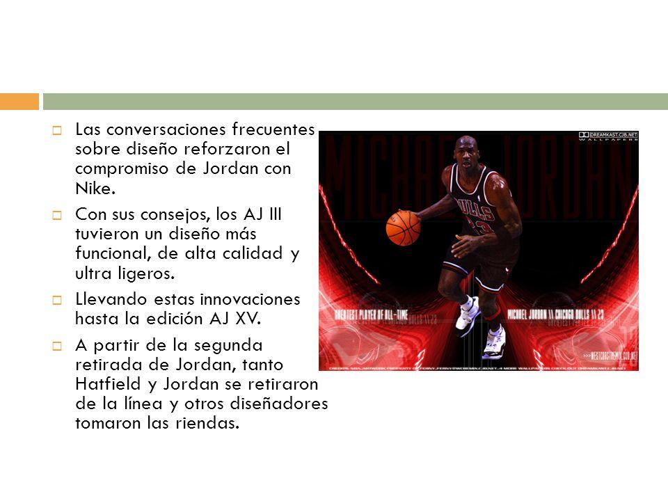 Las conversaciones frecuentes sobre diseño reforzaron el compromiso de Jordan con Nike. Con sus consejos, los AJ III tuvieron un diseño más funcional,