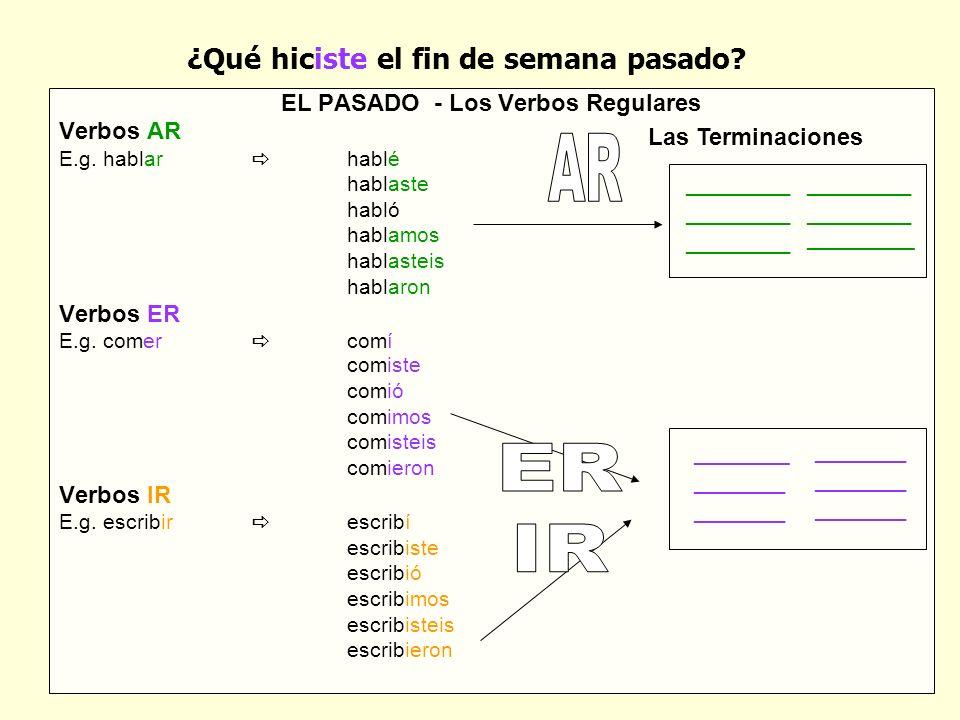 EL PASADO - Los Verbos Regulares Verbos AR E.g.