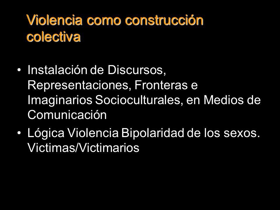 Instalación de Discursos, Representaciones, Fronteras e Imaginarios Socioculturales, en Medios de Comunicación Lógica Violencia Bipolaridad de los sexos.