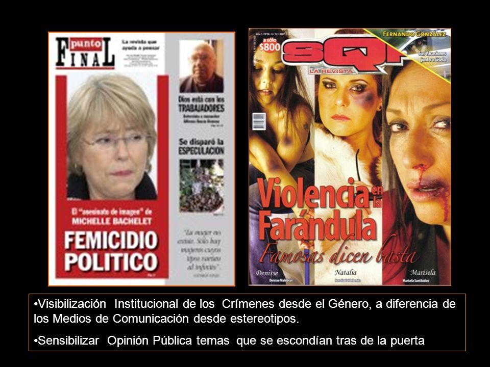 Visibilización Institucional de los Crímenes desde el Género, a diferencia de los Medios de Comunicación desde estereotipos.