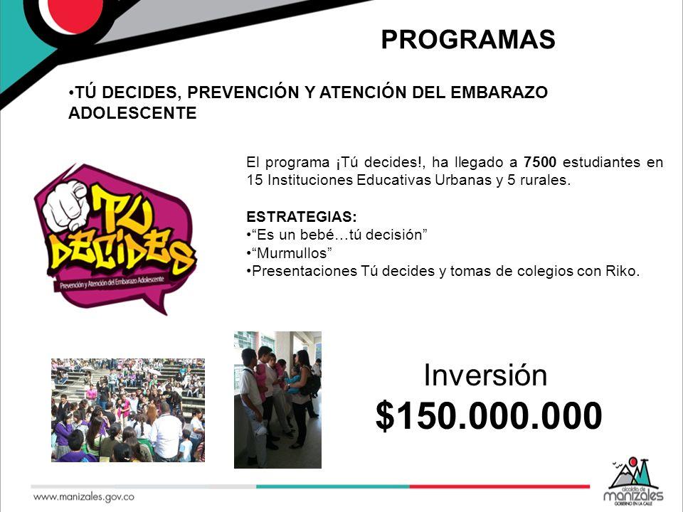 PROGRAMAS TÚ DECIDES, PREVENCIÓN Y ATENCIÓN DEL EMBARAZO ADOLESCENTE El programa ¡Tú decides!, ha llegado a 7500 estudiantes en 15 Instituciones Educa