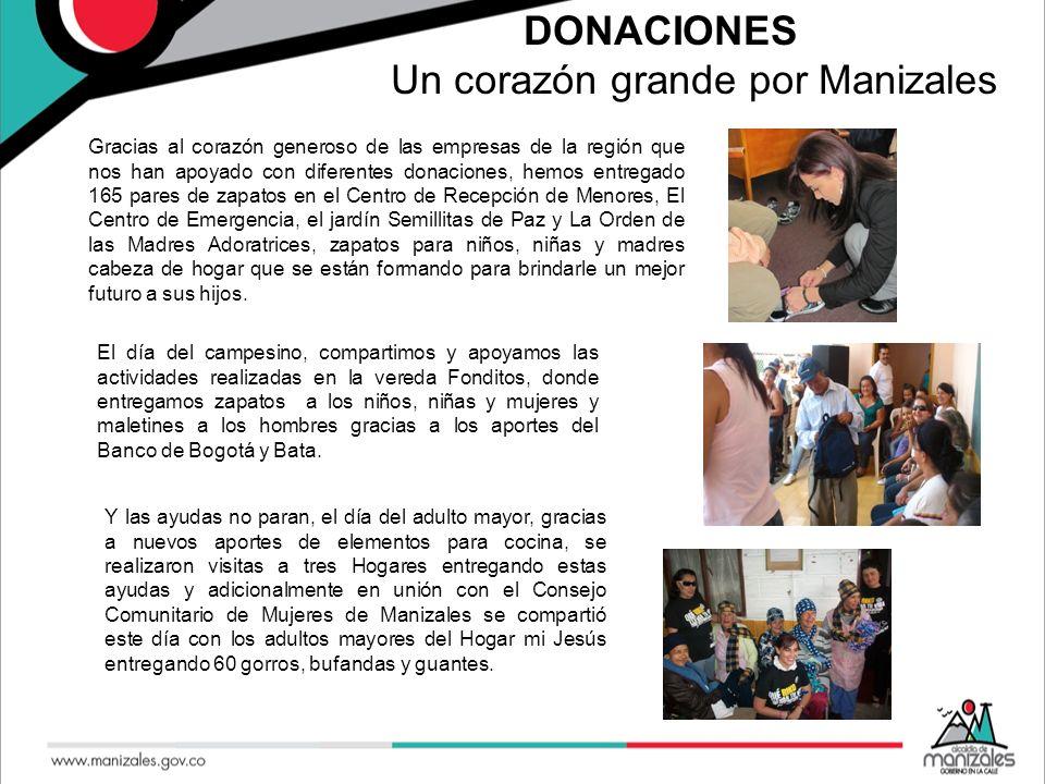 DONACIONES Un corazón grande por Manizales Gracias al corazón generoso de las empresas de la región que nos han apoyado con diferentes donaciones, hem