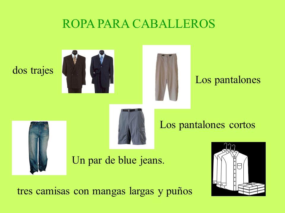 ROPA PARA CABALLEROS dos trajes Los pantalones Los pantalones cortos Un par de blue jeans. tres camisas con mangas largas y puños