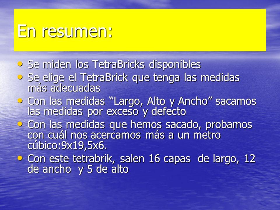 En resumen: Se miden los TetraBricks disponibles Se miden los TetraBricks disponibles Se elige el TetraBrick que tenga las medidas más adecuadas Se el