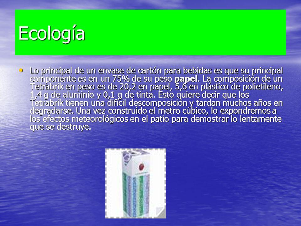 Ecología Lo principal de un envase de cartón para bebidas es que su principal componente es en un 75% de su peso papel. La composición de un Tetrabrik
