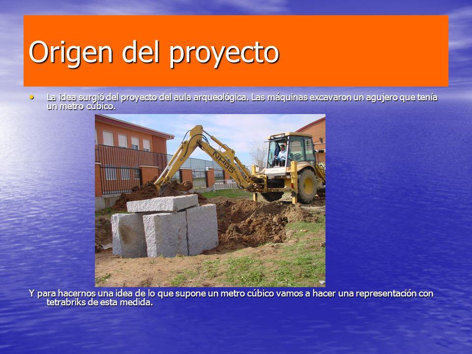 Origen del proyecto La idea surgió del proyecto del aula arqueológica. Las máquinas excavaron un agujero que tenía un metro cúbico. La idea surgió del